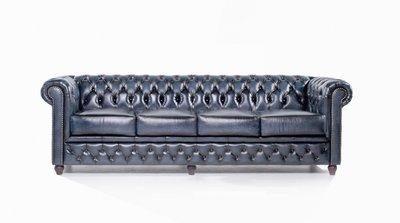 Chesterfield Zetel Original Leer | 4-zit | Antiek blauw | 12 jaar garantie
