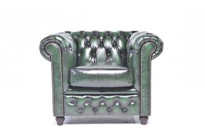 Chesterfield Fauteuil Original Leer   Antiek groen   12 jaar garantie