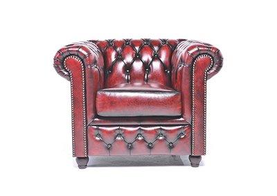 Chesterfield Fauteuil Original Leer   Antiek rood   12 jaar garantie
