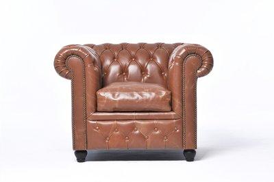Chesterfield Fauteuil Vintage Leer   Mokka   12 jaar garantie